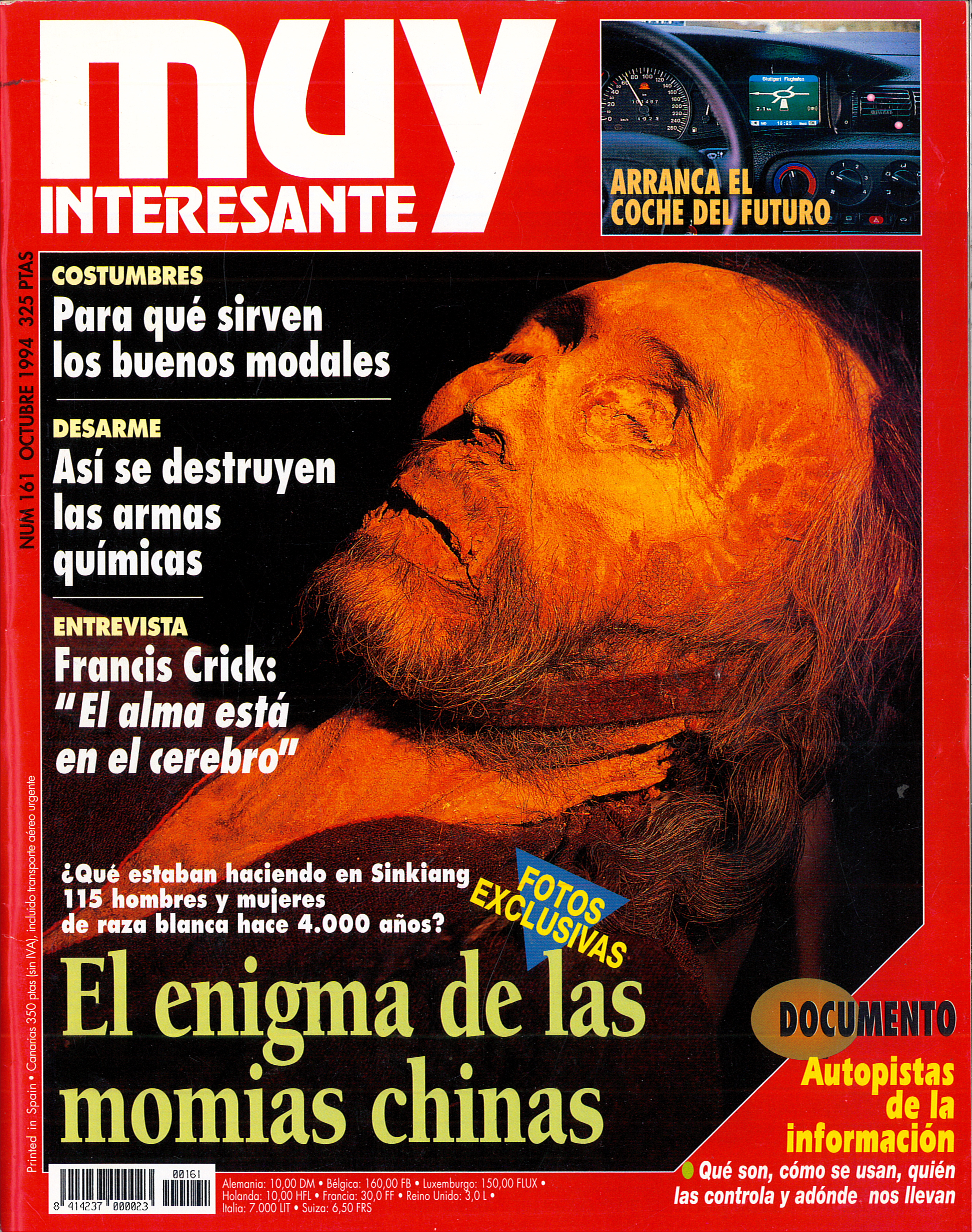 MUY INTERESANTE. Portada del nº 161 (octubre de 1994). Titular destacado: El enigma de las momias chinas.