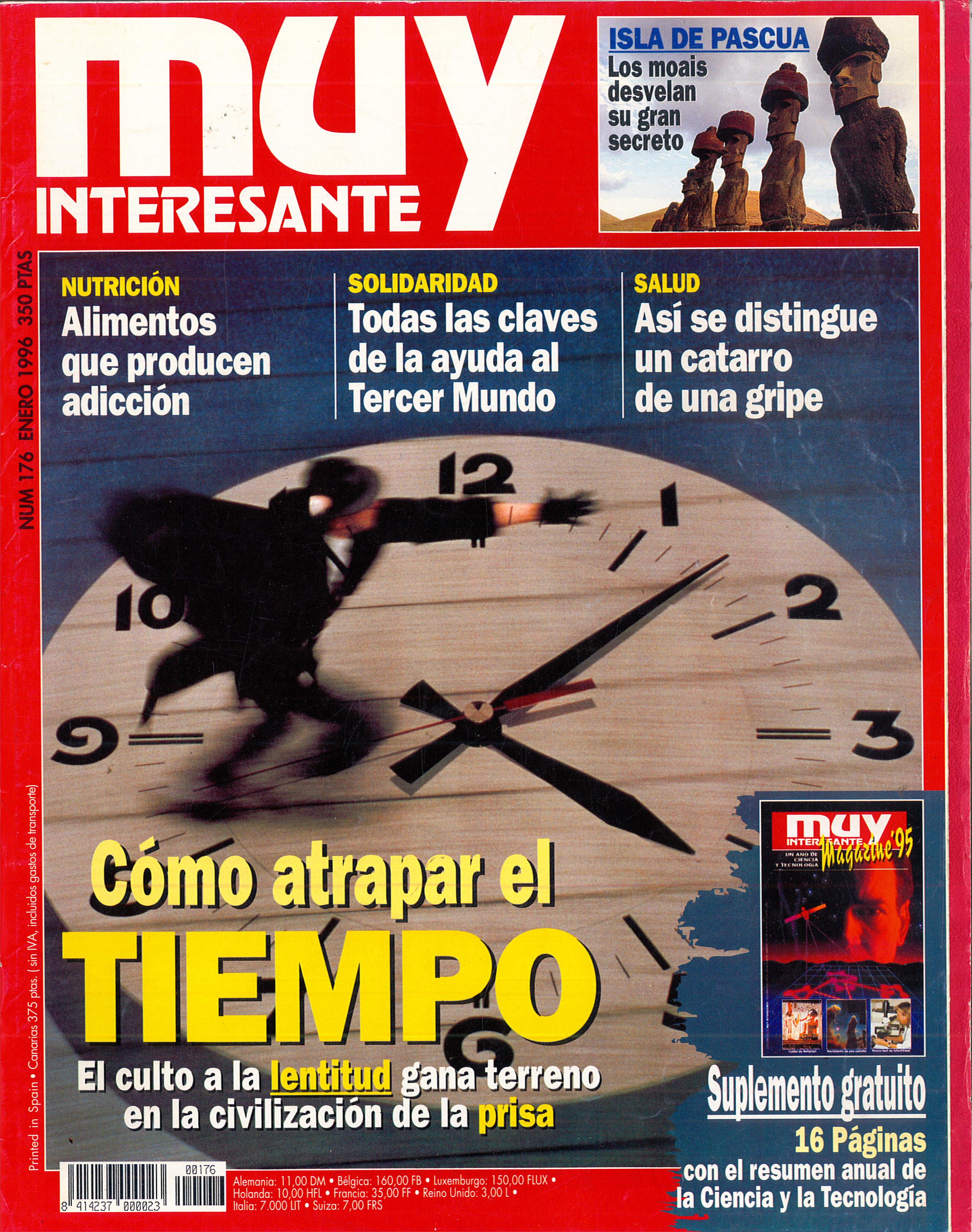 MUY INTERESANTE. Portada del nº 176 (enero de 1996). Titular destacado: Cómo atrapar el tiempo.