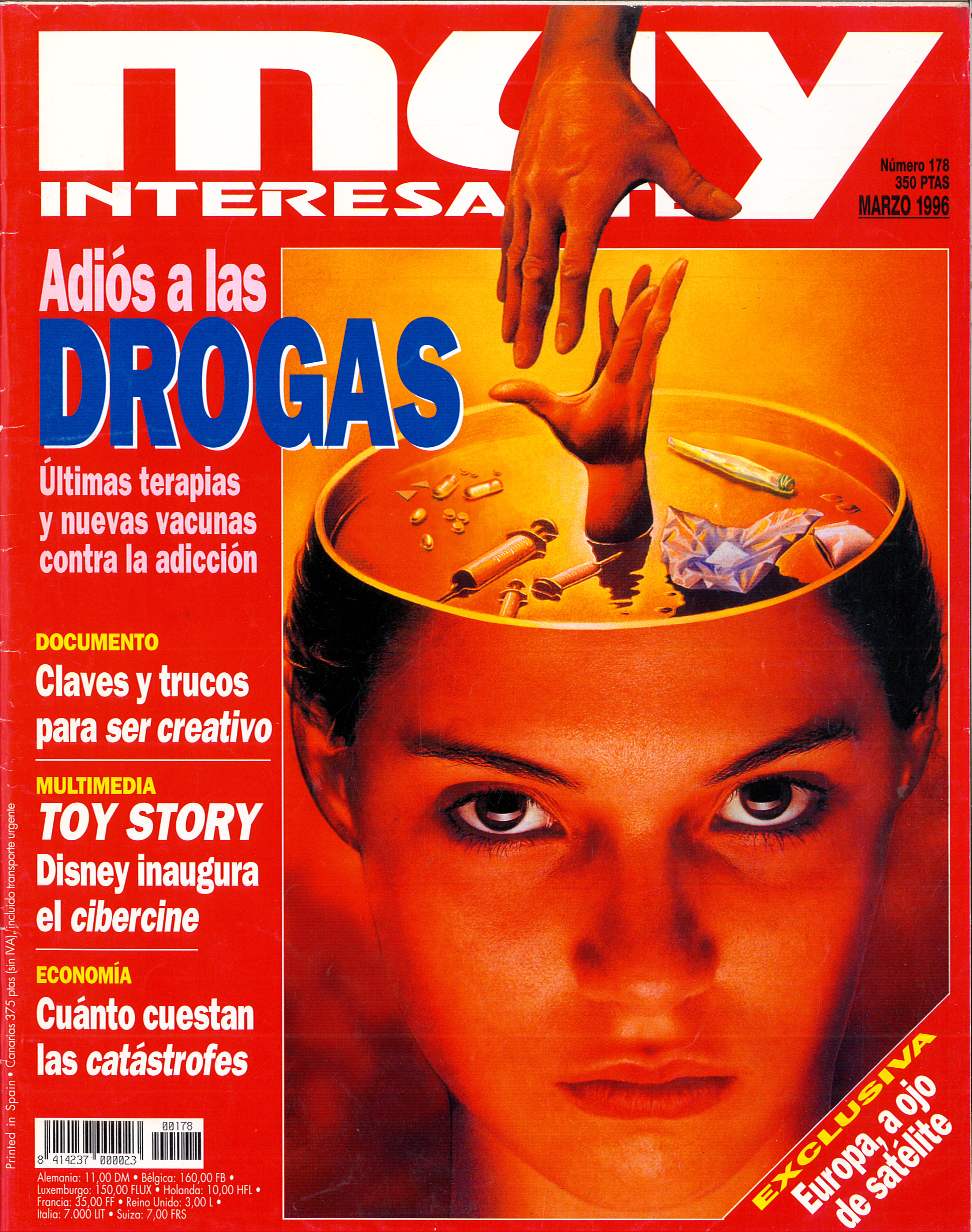 MUY INTERESANTE. Portada del nº 178 (marzo de 1996). Titular destacado: Adiós a las Drogas-Ultimas terapias y nuevas vacunas contra la adicción.