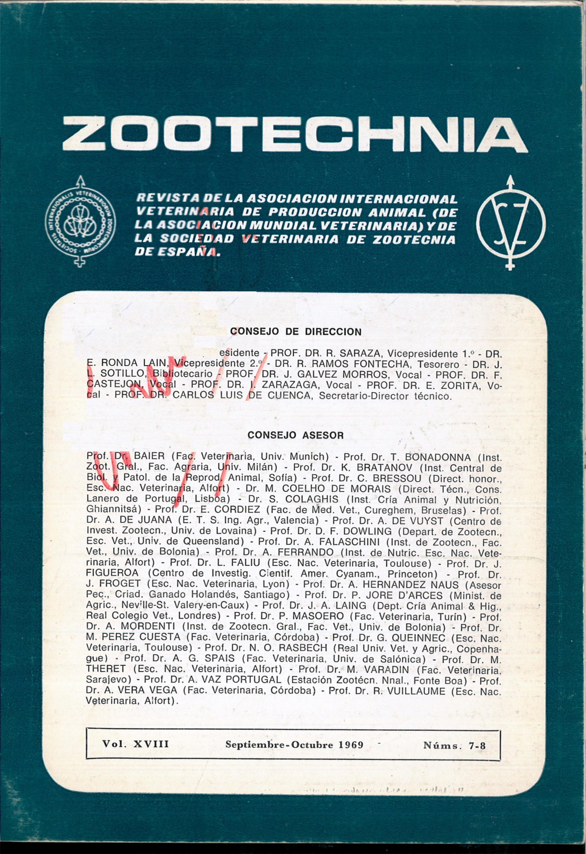 ZOOTECHNIA. Revista de la Asociación Internacional Veterinaria de Producción Animal (de la Asociación Mundial Veterinaria) y la Sociedad Veterinaria de Zootecnia de España).Vol. XVIII, Núms. 7-8 (Septiembre-Octubre de 1969).