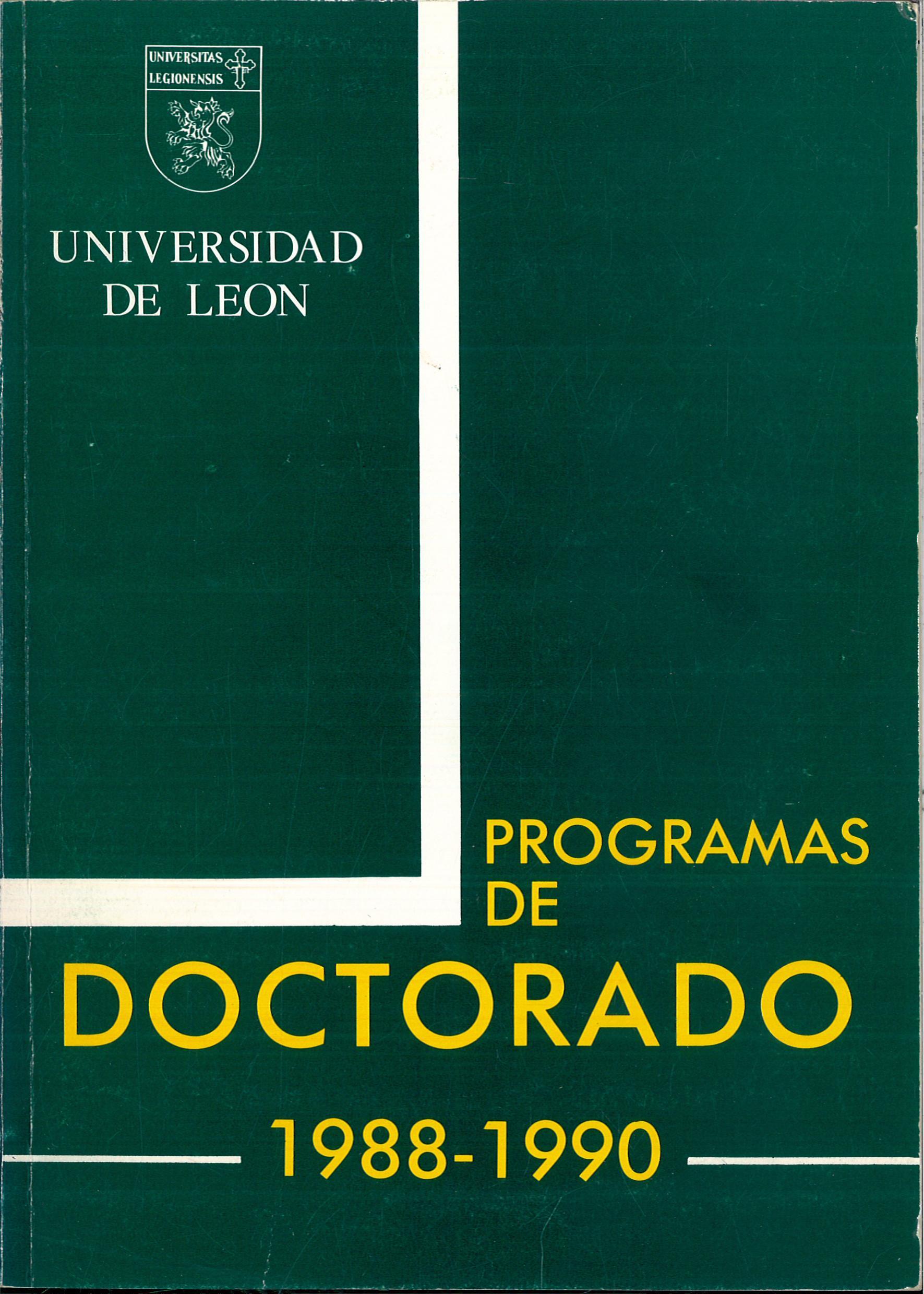 Portada del libro: «LOS PROGRAMAS DE DOCTORADO 1988-1990».
