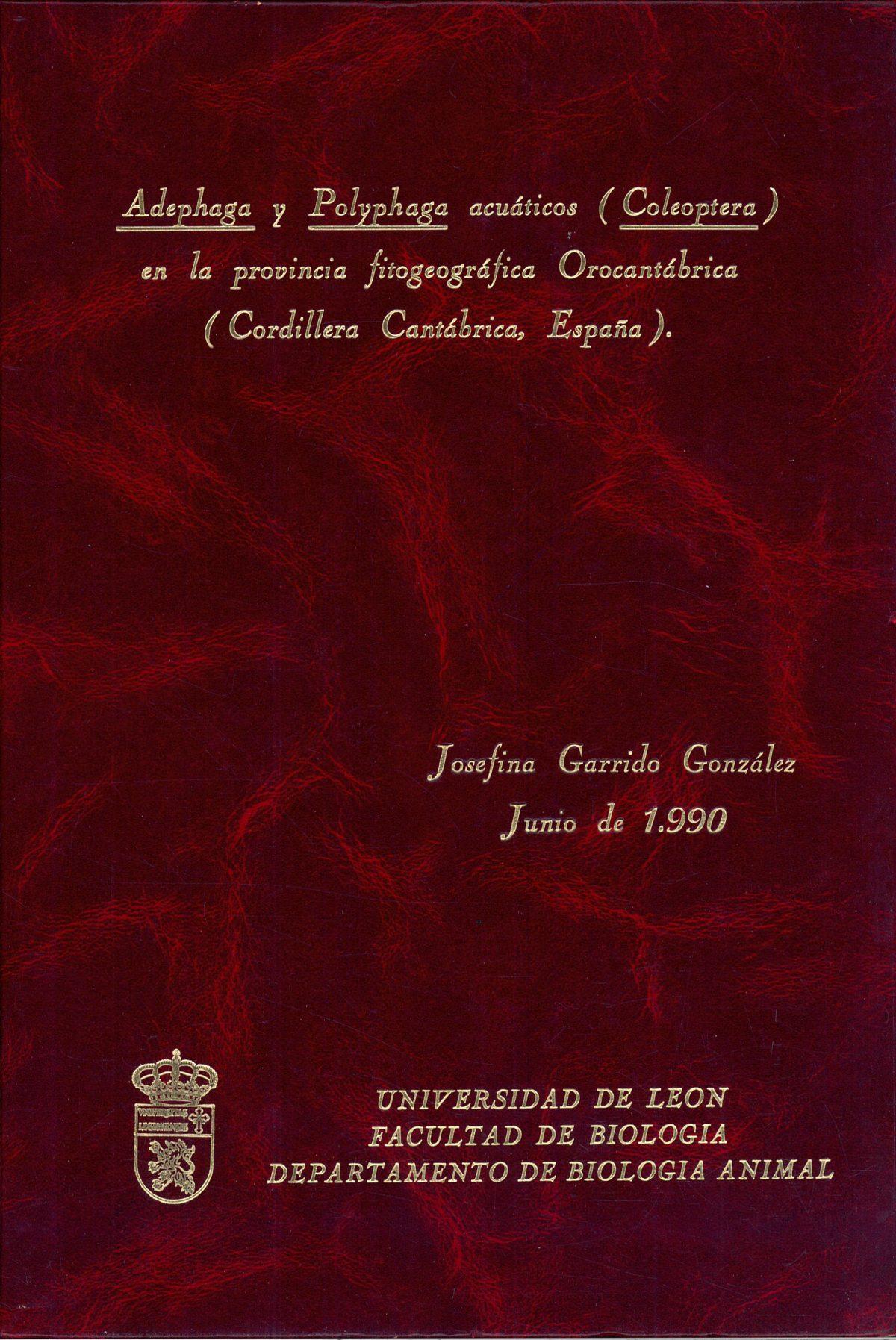 «Adephaga y Polyphaga acuáticos (Coleoptera) en la provincia fitogeográfica Orocantábrica (Cordillera Cantábrica, España)»