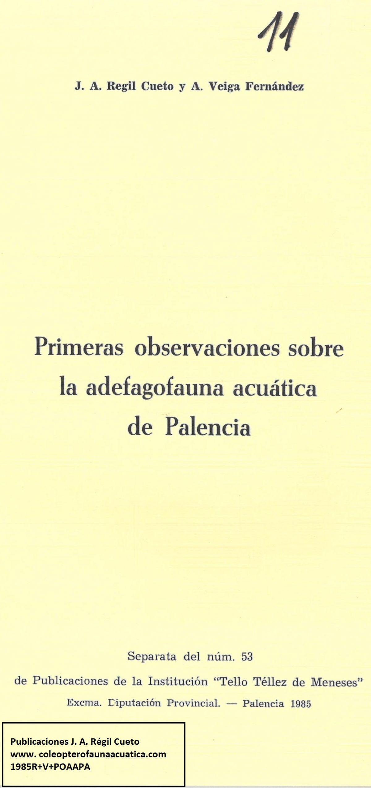 [1985R+V+POAAPA] «Primeras observaciones sobre la adefagofauna acuática de Palencia»