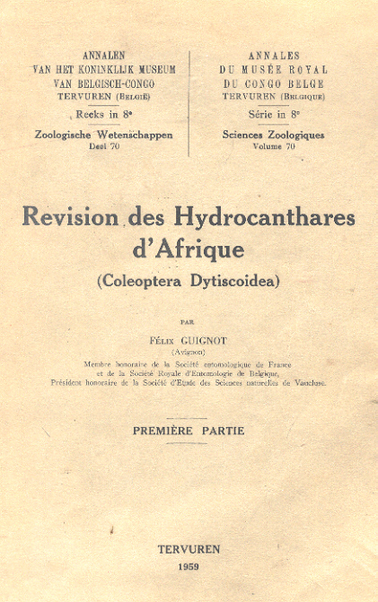"""Revision des Hydrocanthares d'Afrique"" (Coleoptera Dytiscoidea)"""