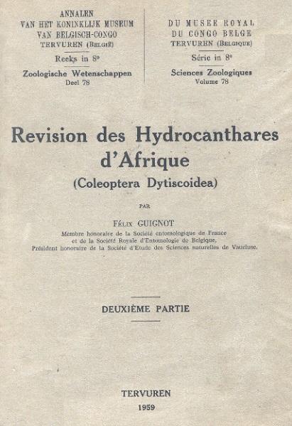 """Revision des Hydrocanthares d'Afrique (Coleoptera Dytiscoidea)"""